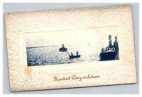 Vintage 1900's Photo Congratulations Postcard Ships in Harbor