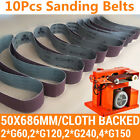 10X Sanding Belts 50x686mm Cloth Backed Mixed Grit Linisher FITS OZITO BGBS-240
