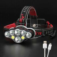USB Rechargeable T6 8 LED Lampe Frontale Tête Torche Phare Travail Lumière Vive