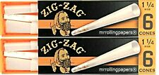 2 PKS Zig Zag  1 1/4 Cones 6 Per Pack - 12 Cones Total *Great Price USA Shipped*