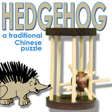 Wooden Hedgehog In A Cage Mystery Toy Joke Gag Ball Trick Wood Chinese Puzzle