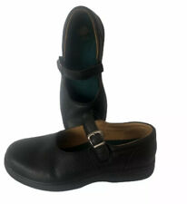 Dr Comfort Merry Jane Black Pebbled Leather Mary Janes Womens 8 W Wide
