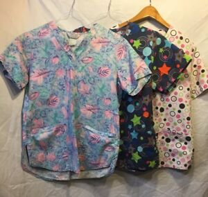Scrub Tops Lot Of 3 Medium Cherokee And Comfy Cotton Scrubs