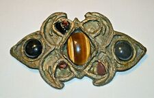 Metal Belt Buckle with Tigers Eye & Other Gems - Missing Some Pieces
