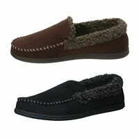 NEW Dearfoams Men's Microsuede Whipstitch Clog Slippers - Black-Cofee