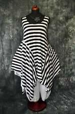 Lagenlook raffiniertes asymetrisches Zipfel-Kleid Streifen WEISS XL,XXL,XXXL