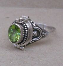 or Cremation Ring Size 6-8-9 Handmade Sterling Silver Peridot Poison