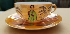 Vintage Japanese cup and saucer eggshell porcelain Geisha Marked Nippon