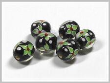 6 Lampwork Perlen rund schwarz mit Blumen 12mm Glasperlen Perlen