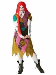 Adult Nightmare Before Christmas Sally Ladies Fancy Dress Costume with Red Wig