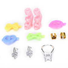 Fashion 8pcs/Set Jewelry Necklace Earring Shoes Accessories For Barbie DollsLACA
