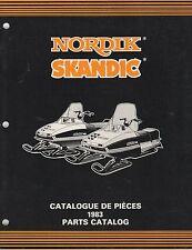 1983 SKI-DOO NORDIK, SKANDIC  SNOWMOBILE PARTS MANUAL P/N 480 1172 00 (319)