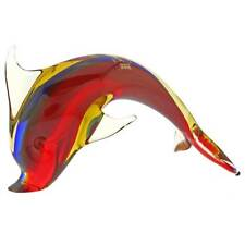 GlassOfVenice Murano Glass Dolphin - Red Blue Amber