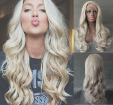 """US 24"""" Handtied Long Curly Wavy Heat resistant Lace front wigs Pastel Blonde"""