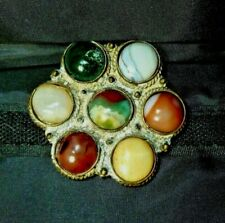 """Stones Silver or Silverplate ? 2.25"""" Colorful Old Vintage Brooch Pin w 7 Agate"""