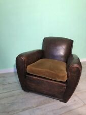 Antique Rare shape French leather club chair
