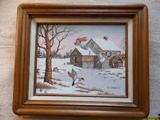 Vintage Duck Painting Original Oil on Canvas Art Work by C Carson Signed Framed