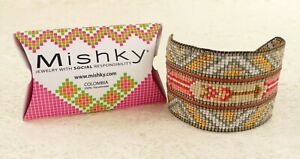 NWT MISHKY HANDMADE DIAMOND ARROW GLASS BEADED BRACELET PINKS GOLD SILVER
