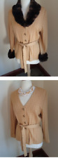 NWT ST. JOHN COLLECTIONS Cardigan Jacket sz 8 $960 TOFFEE REMOVABLE FUR