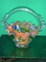 Glass Basket With Handle Orange Blue White