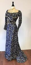 Antique Victorian 1880s rare blue white silk printed boned skirt top gown NR