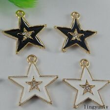50986 Mixed Color Alloy Star Enamel Crystal Pendants Charms Findings Craft 12pcs