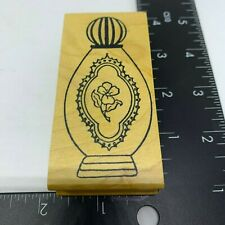 Me & Carrie Lou Rubber Stamp Ornate Perfume Bottle Wood Mount New