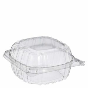 Dart Solo Small Clear Plastic Hinged Container for Sandwich Salad, 100 Ct