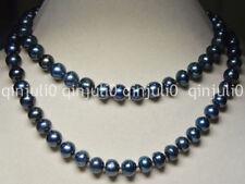 Long 32 Inches Natural 9-10mm tahitian black real pearl necklaces JN0638