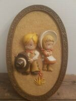 """Vintage 1981 Burwood Homco County Cowboy and Cowgirl Wall Hanging 3D Plaque 14"""""""