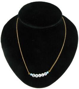 Sally - Name Necklace Gold Tone Blue Glass - Circa 1950-60