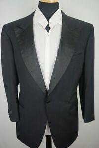 Brioni Peak Lapel One Button Black Textured Wool Tuxedo Dinner Jacket Sz 46
