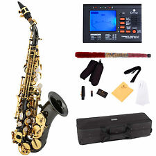 Mendini Curved Bb Soprano Saxophone Sax ~Black Nickel Plated +Tuner ~MSS-CSBNG