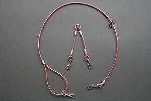 Hunter Orange Two Dog 5ft Cable Leash Lead w/ Coupler Splitter Hog Dog  Bird dog