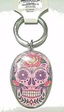 Silvertone Metal Split Ring Key Ring with Plastic Fob New Pink Sugar Skull
