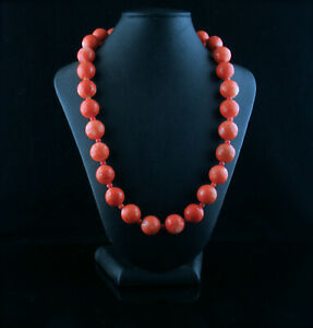 Vintage Faceted Japanese MoMo Coral Bead Necklace 106 grams