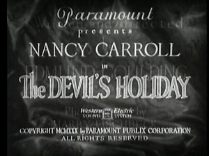 THE DEVILS HOLIDAY 1930  Nancy Carroll, Phillips Holmes region free DVD