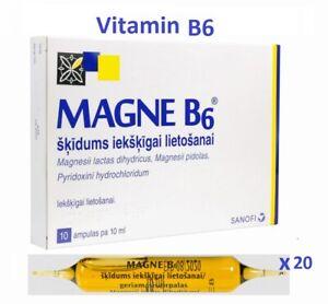 2 x 10 Ampoules MAGNE B6 Magnesium Vitamin B6 20 Vials Supplement Exp 11/2023