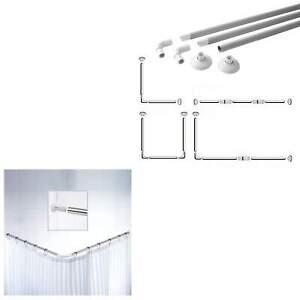 Shower Curtain Rail , Rod Chrome - 4 Configurations  L-Shape U-Shape Straight UK
