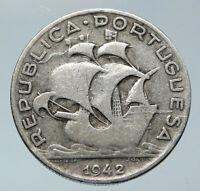 1942 PORTUGAL with PORTUGUESE SAILING SHIP Vintage Silver 5 Escudos Coin i85920