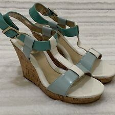 b8c09dd15afd Croft   Barrow Patent Wedge Strappy Sandals Size 8 M White Teal Mint