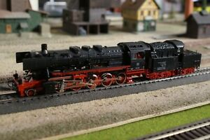 FLEISCHMANN, STEAM ENGINE 50 058 AC CONVERTED WITH LIGHTS, SCALE HO