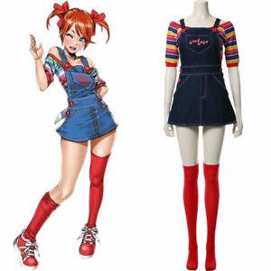 Women Child's Play Chucky Cosplay Costume Bib Pants Halloween Girl Dress Gift
