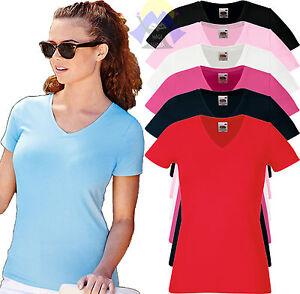 T-shirt ELASTICIZZATA Donna Scollo a V FRUIT OF THE LOOM Maglietta Manica Corta