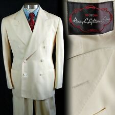 Vintage 1940s Henry C. Lyton White Double Breasted Suit 38 31x30