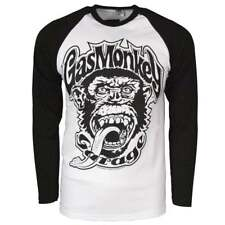 Official Mens Gas Monkey Garage 04 Baseball Long Sleeve T Shirt White Raglan NEW