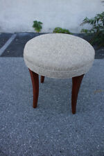 Modern Round Maple Bench, Piano Stool, New Gray Upholstery