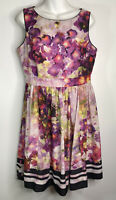 Liz Claiborne Silky Dress Size 12 Floral Fit And Flare Lined Polyester Easy Care