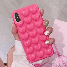 Corazón Lindo Funda Para IPHONE XS Max X 7 8 Plus 3D Silicona Golpes Antigolpes