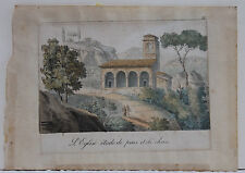 CRAYON LANDSCAPE LITHOGRAPHY, 19TH CENTURY